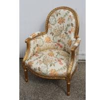Bergère style Louis XVI doré, tissus à fleurs