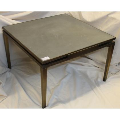 Table basse carrée en bronze plateau en pierre