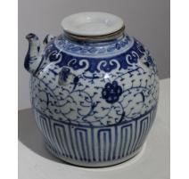 Théière boule en porcelaine décor fleurs