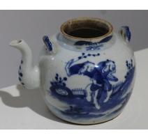 Théière boule en porcelaine décor personnages