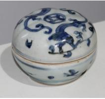 Boite ronde en porcelaine décor dragons