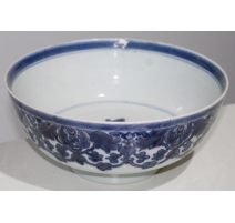 Bol en porcelaine décor feuilles bleu et or