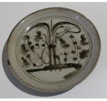 Petite assiette décor arbre sépia