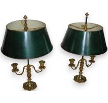 Paire de lampes bouillotte, abat-jours tôle verte