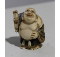 Netsuke japonais en ivoire bouddha riant