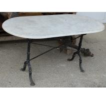 Table de bistrot avec plateau en marbre blanc