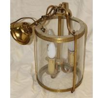 Lanterne ronde en laiton à trois lumières