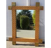 Miroir avec cadre en paille et laiton
