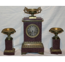 Empire mantel clock and two ur