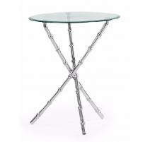 """Table d'appoint """"Bambou"""" en aluminium et verre"""
