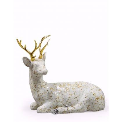 Grand cerf en résine craquelée dorée et blanche