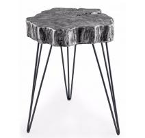 """Table d'appoint """"Rondin de bois argenté"""""""