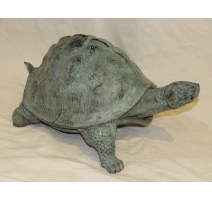 Grande tortue en bronze patine verte