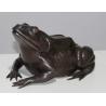 Grande grenouille en bronze patine brune