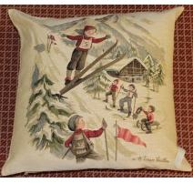 """Coussin en tapisserie """"Saut à ski"""""""