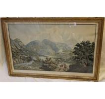 """Gravure """"Vue du Mont-Blanc prise de St-Martin"""""""