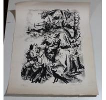 """Lithographie """"Fauconnier"""" signée CLÉMENT"""
