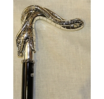 """Canne avec crosse """"Serpent"""" argentée"""