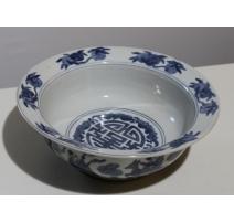 Coupe en porcelaine bleu-blanc décor personnages