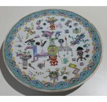 Assiette chinoise en porcelaine décor vases
