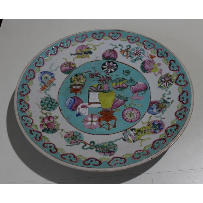 Assiette chinoise en porcelaine décor vase