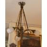 Lustre en bronze Napoléon III à trois lumières