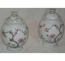 Paire de vases avec couvercle décor arbres