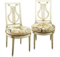 Paire de chaise Lyre Louis XVI par H. JACOB
