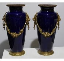 Paire de vase en porcelaine bleue