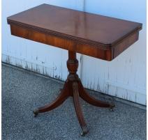Table à jeux en acajou et cuir beige