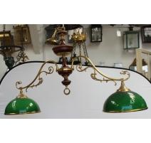 Lampe de billard en bois et laiton, globes verts