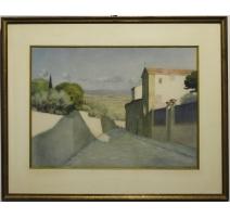 """Pastel """"Vue de Toscane"""" signé E. RIVIER"""
