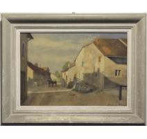 """Pastel """"Village Vaudois"""" signé Etienne RIVIER 1946"""