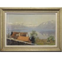 """Pastel """"Vue du Lavaux"""" signé E. RIVIER 1948"""