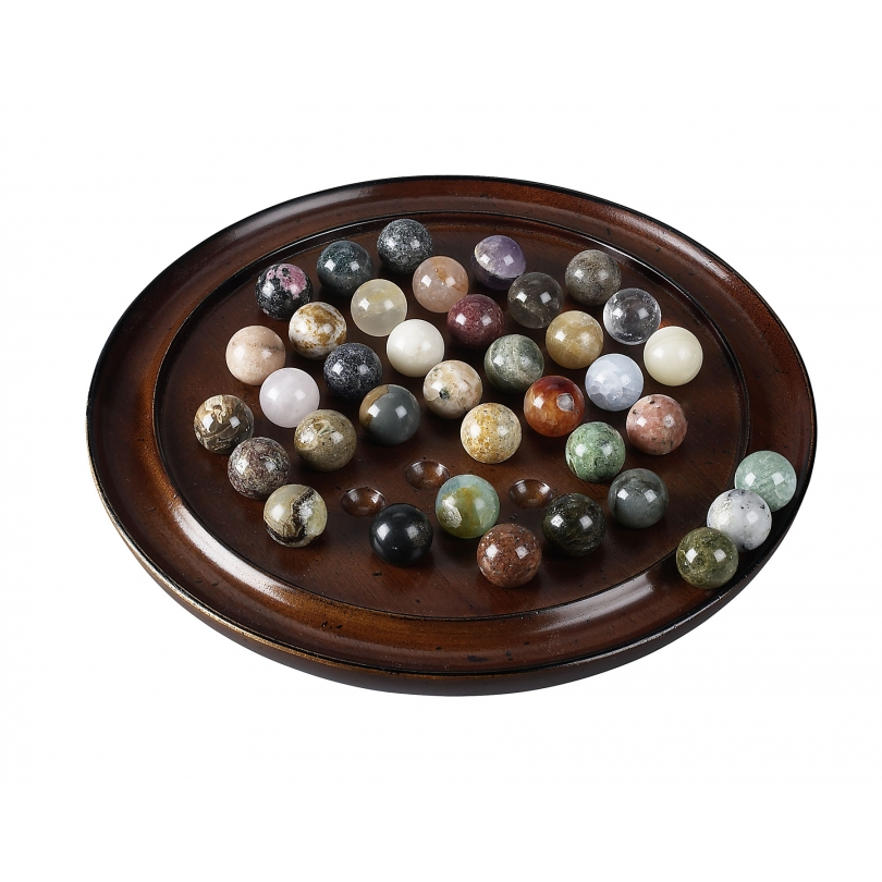 Jeux du Solitaire en bois et pierres, petit modèle