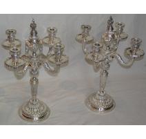 Paire de chandeliers Louis XVI à 5 flammes