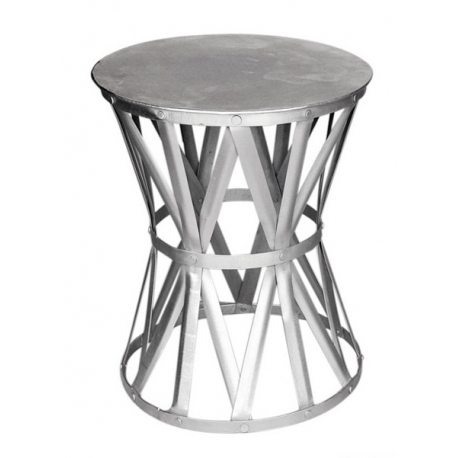 Table Ronde Tambour En Fer Nickelé Moinat Sa Antiquités Décoration