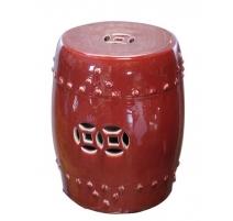 Tabouret en porcelaine rouge sang de boeuf
