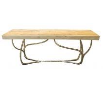 "Table basse ""Lianes"" en bronze avec plateau bois"
