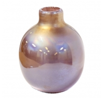 Vase rose poudre rond en verre