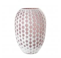 Vase art decor en verre taillé rose et blanc