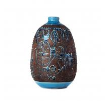 Vase boule en grés vernissé turquoise, grand