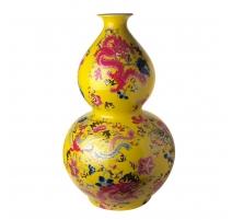 Vase en double gourde fond jaune décor dragons