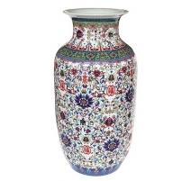Vase  fond blanc décor famille qianlong