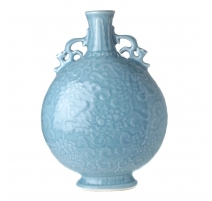 Vase gourde à oreilles décor lotus bleu, grand