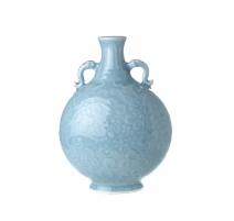 Vase gourde à oreilles décor lotus bleu, petit