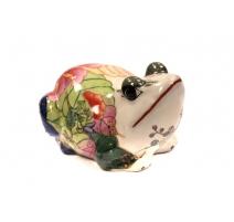 Grenouille en porcelaine polychrome
