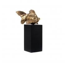 Poisson en bronze doré sur socle noir