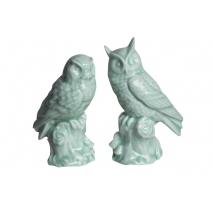 Couple de hiboux en porcelaine céladon, petit