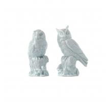 Couple de hiboux en porcelaine turquoise, petit
